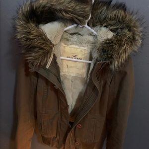 Hollister Beige Fur Lined Winter Jacket Coat